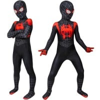 Kids Miles Morales Costume Spider-Man Into the Spider-Verse Cosplay Suit