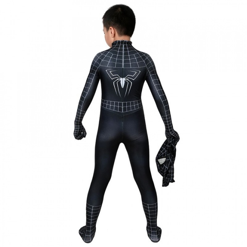 Spiderman 3 Eddie Brock Cosplay Costume Venom Jumpsuit for Kids