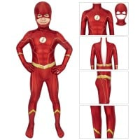 Kids Flash Costume Barry Allen Jumpsuit The Flash Season 6 Zentai Cosplay Costume