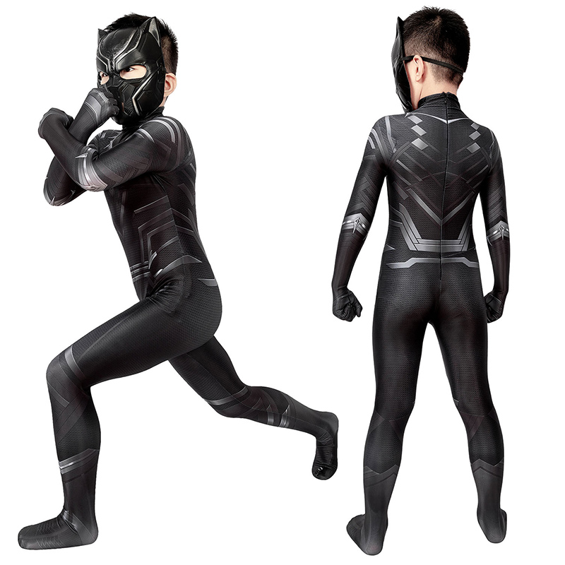 Kids Captain America Civil War T'Challa Cosplay Costume Black Panther Jumpsuit