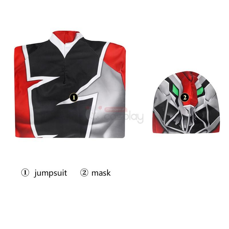Red Power Ranger Suit Koh Ryusoulger Red Ranger Cosplay Zentai