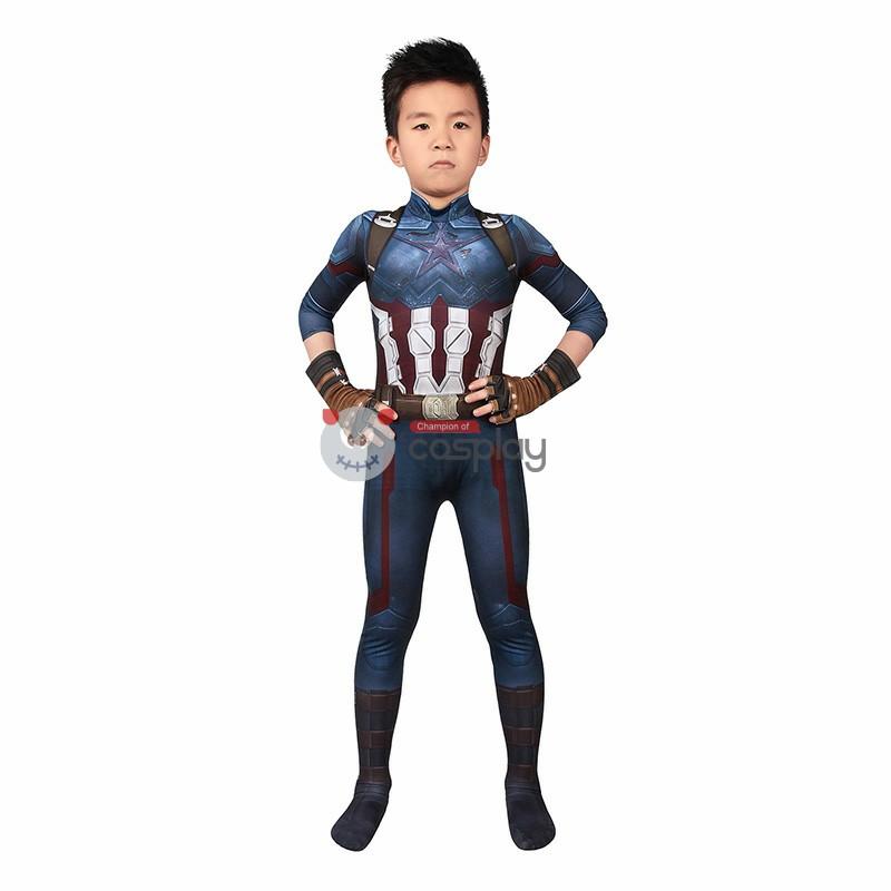 Kids Captain America Costume Avengers Infinity War Steve Rogers Cosplay Costume
